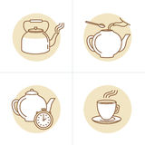 Vector illustration in trendy linear style - tea infusion instructions and guide - icons and drawings for tea packaging or. Infographics vector illustration