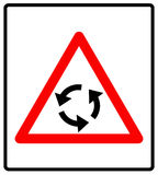 Vector illustration of triangle traffic sign for roundabout Stock Photo
