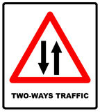 Vector illustration of triangle traffic sign for two way Stock Photo