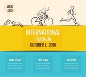 Vector illustration triathlon, flat design Stock Photos