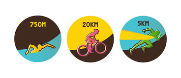 Vector illustration triathlon, flat design Stock Photo