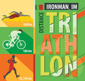 Vector illustration triathlon, flat design. Stock Images