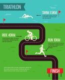 Vector illustration triathlon. Triathlon poster. A vector illustration of triathlon sport for sport competition series Royalty Free Stock Photo