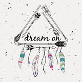 Vector illustration with tribal frame with ethnic arrows and feathers Royalty Free Stock Photo