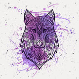 Vector illustration of tribal style wolf with ethnic ornaments Royalty Free Stock Photography