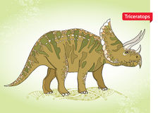Vector illustration of Triceratops from family of large horned dinosaurs on the green background. Series of prehistoric dinosaurs. Stock Images