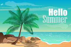 Vector illustration with tropical beach. Hello summer. Stock Image