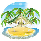 Vector illustration. Tropical beach. Stock Photography