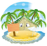 Vector illustration. Tropical beach. Royalty Free Stock Photos