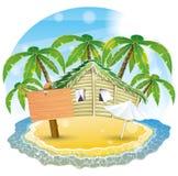 Vector illustration. Tropical beach. Royalty Free Stock Photos