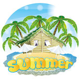 Vector illustration. Tropical beach. Royalty Free Stock Images