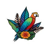 Vector illustration of a tropical bird, tropical flowers and Leaves. Colorful hand drawn illustration with parrot and tropical plants on  isolated background Stock Photos