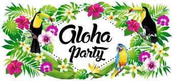 Vector illustration of tropical birds, flowers, leaves. Aloha party! Vector illustration of tropical birds, flowers, leaves Stock Photos
