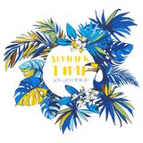 Vector illustration Tropical floral summer party poster invitation. Vector illustration Tropical floral summer party poster with palm beach banana monstera Royalty Free Stock Photography