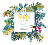 Vector illustration Tropical floral summer party poster with pal Royalty Free Stock Photo