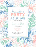 Vector illustration Tropical floral summer party poster with pal Stock Images