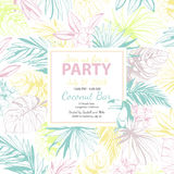 Vector illustration Tropical floral summer party poster with pal Stock Photography
