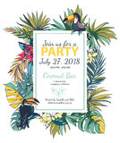 Vector illustration Tropical floral summer party poster with pal Royalty Free Stock Photography