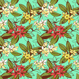Vector illustration Tropical floral summer seamless pattern with Royalty Free Stock Photography