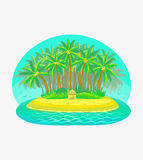Vector illustration of tropical island Royalty Free Stock Photo