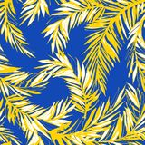 Tropical jungle floral seamless pattern background palm beach leaves. Stock Photo