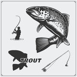 Vector illustration of a trout fish and fishing design elements. Black and white illustration Royalty Free Stock Photo