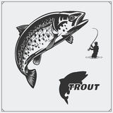 Vector illustration of a trout fish and fishing design elements. Black and white illustration Stock Photo