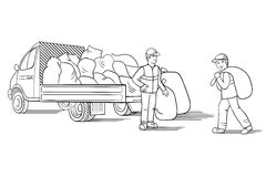 Vector illustration of truck with cargo for moving or relocation with moving men carrying load. Stock Photography