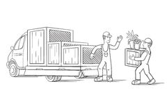 Vector illustration of truck with cargo for moving or relocation with moving men carrying load. Stock Image