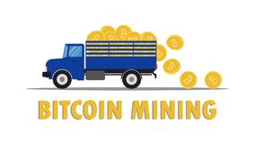 Vector illustration of truck carry bitcoin. Overflow falling on the floor after mining Stock Images