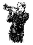 Vector illustration with trumpet Stock Photos
