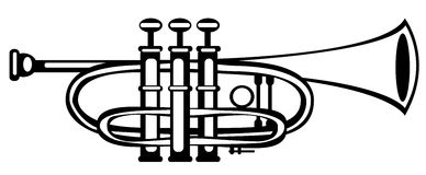 Vector illustration tuba cornet on white. Background Royalty Free Stock Images