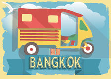 Vector illustration tuk tuk of thailand bangkok on retro style poster or postcard. Stock Images