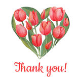 Vector illustration of tulips flowers in heart shape. Stock Images