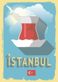 Vector illustration turkish tea. On retro style poster or postcard Royalty Free Stock Photography