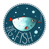 Vector illustration of turquoise fish. With red fins and tail. Object in a circle shape on a dark background. Cartoon style. Imitation of watercolor Royalty Free Stock Images