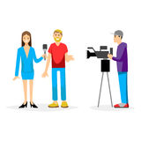 Vector illustration Tv journalist taking interview in front camera Royalty Free Stock Image