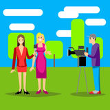 Vector illustration Tv journalist taking interview in front camera Royalty Free Stock Photography