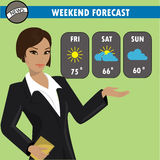 A vector illustration of a TV weather reporter at work. Royalty Free Stock Photography