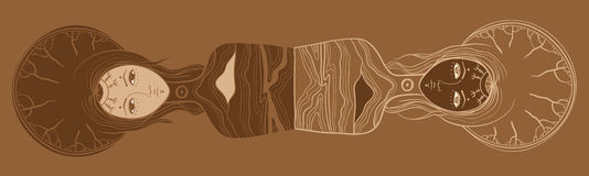 Vector illustration of twins, Yin and yang, body and soul, dualism