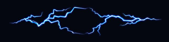 Vector Illustration of Two Abstract Electic Thunderbolts on Black Background. Power Energy Charge Thunder Shock