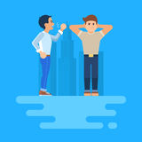 Vector illustration of two arguing men. Vector illustration of two men arguing. The stubborn man covers his ears. He does not want to listen to. Angry man Royalty Free Stock Images