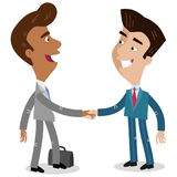 Vector illustration of two asian cartoon businessmen shaking hands making a deal. Vector illustration of two asian cartoon businessmen shaking hands making a Royalty Free Stock Image