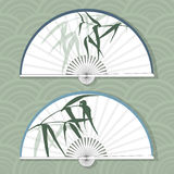 Vector illustration of two Asian folding paper fans. Stock Image
