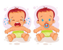 Vector illustration two baby in diapers Royalty Free Stock Photography