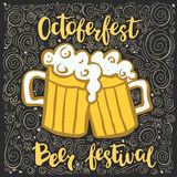 Vector illustration with two beer mugs and an inscription Octoberfest festival. Royalty Free Stock Image