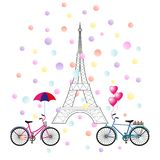 Vector illustration of two bikes, the Eiffel Tower, confetti. royalty free illustration