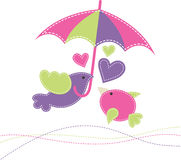 Vector illustration with two birds, an umbrella and hearts. Royalty Free Stock Photos