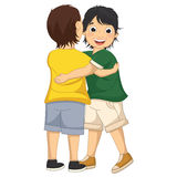 Vector Illustration of Two Boys Hugging Each Other. 