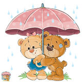 Vector illustration of two brown teddy bear boy and girl hiding from the rain under the umbrella. Print, template, design element Royalty Free Stock Photography